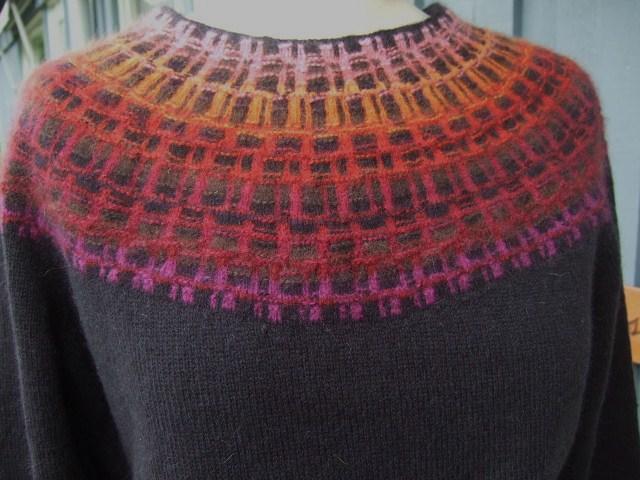 Bohus Stickning Gallret Rött pullover/cardigan kit