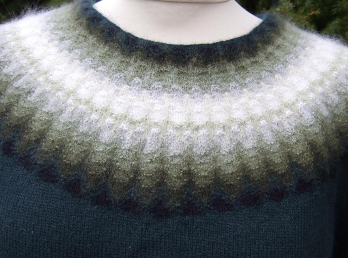 Bohus Stickning Gröna Dimman pullover/cardigan kit