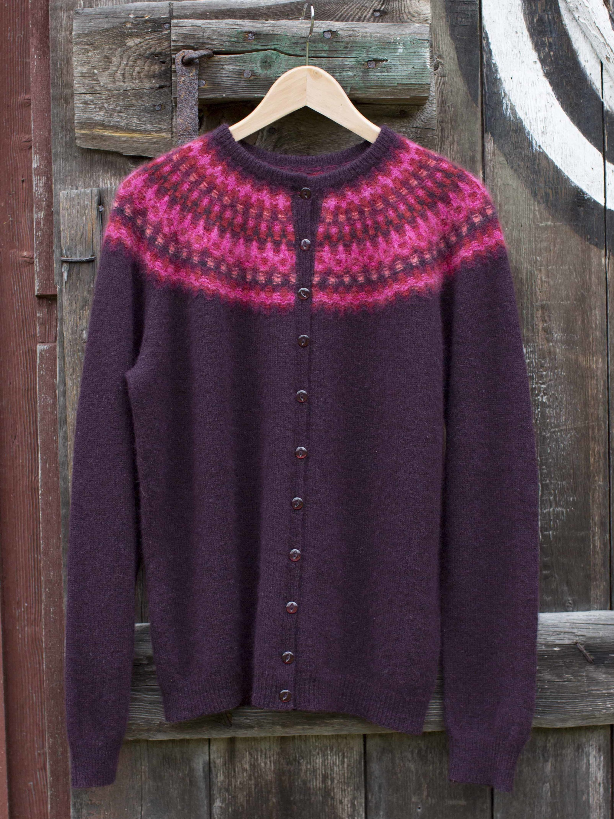 Bohus Stickning Nya Azalean pullover/cardigan aubergine mc