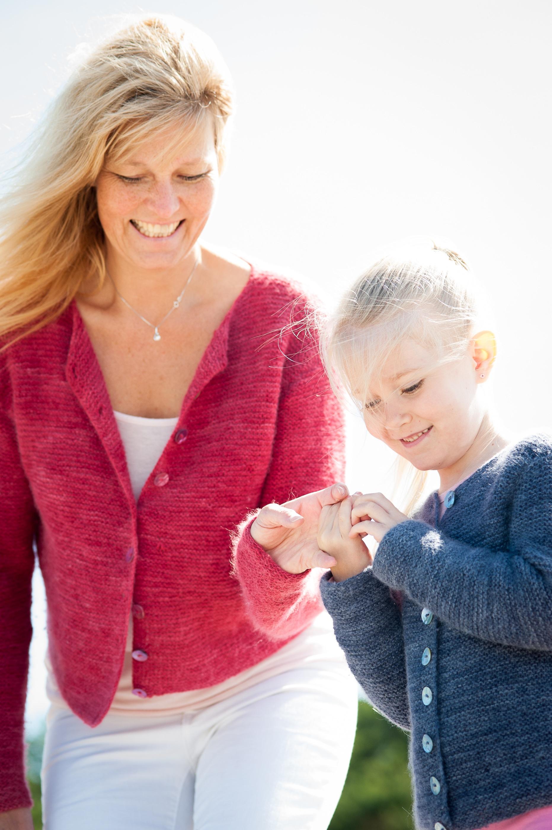 rätstickat kofta i angora/merino till barn 2-12 år