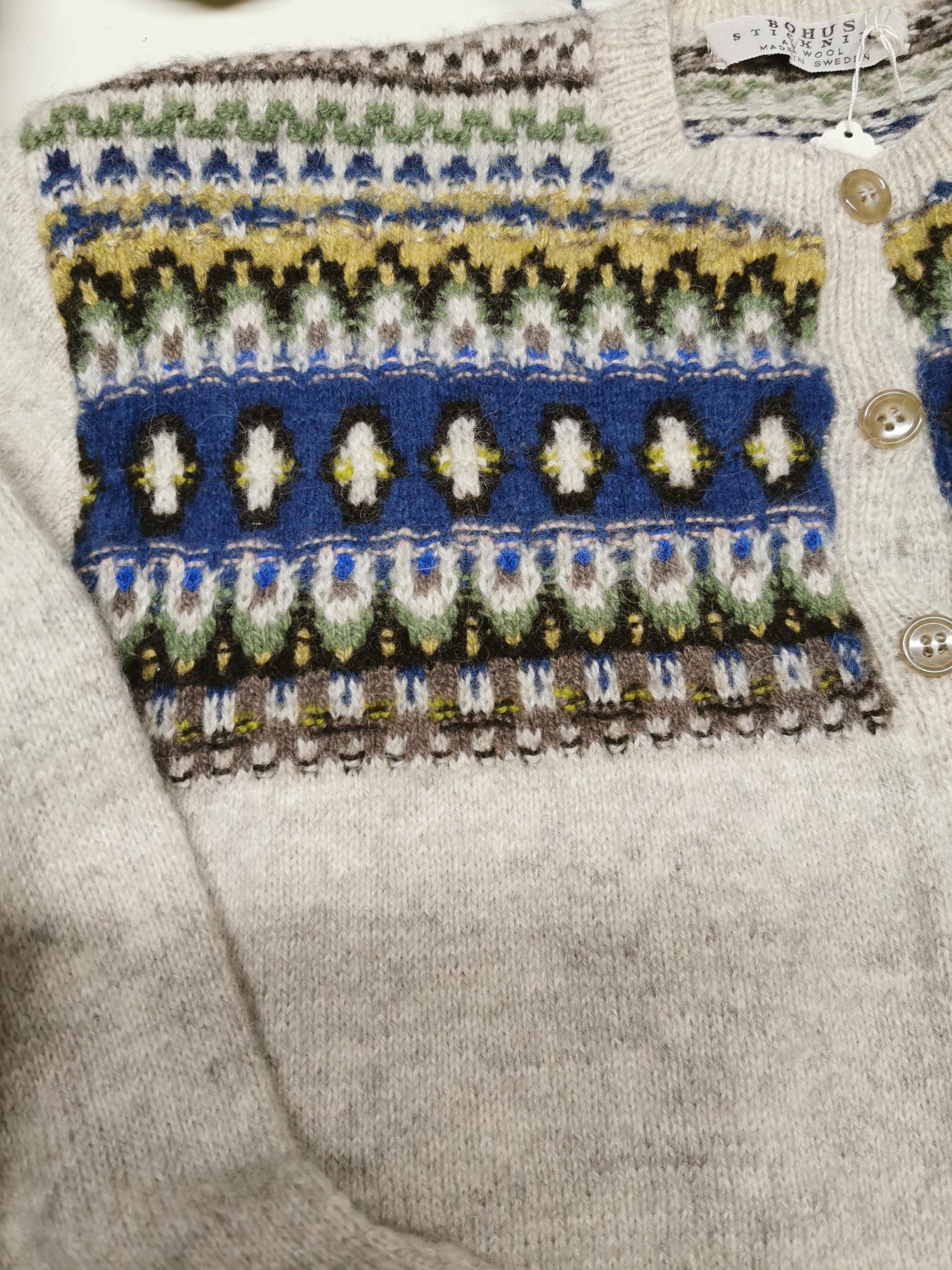 Bohus Stickning Blue Eskimo straight yoke pullover cardigan kit