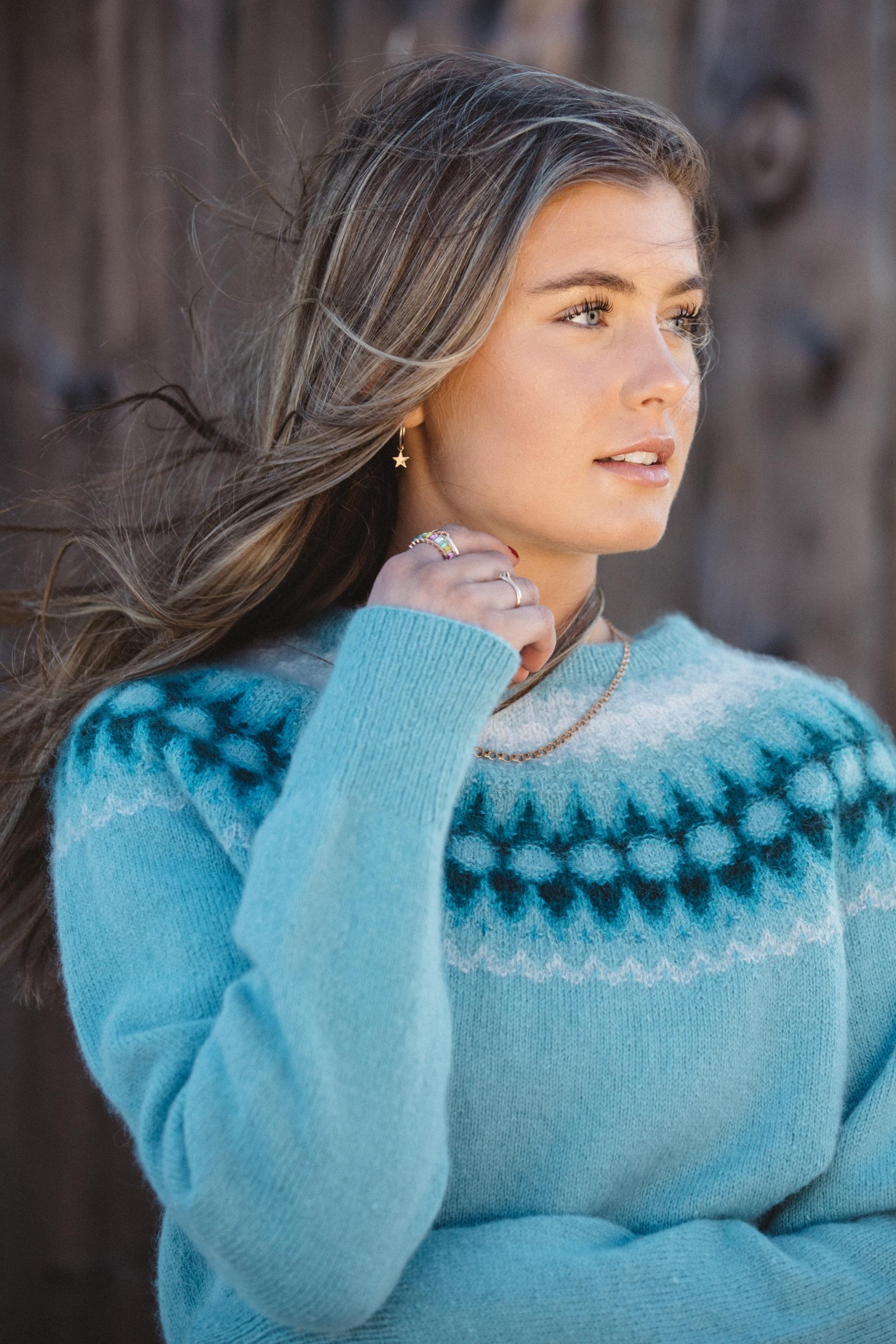 Bohus Stickning Blå Blomman, turkos bf pullover cardigan kit