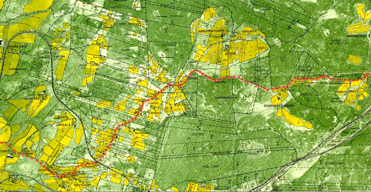 ekonomisk karta A. Ljungstorpsvägen Knivaledet Stenberget Vägens historia  ekonomisk karta