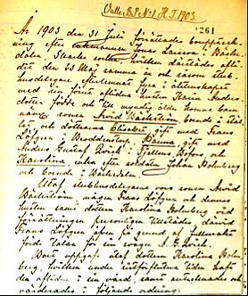 Bild ur Valle Häradsrätts arkiv 1903- publicerad med rätt från www.ArkivDigital.se