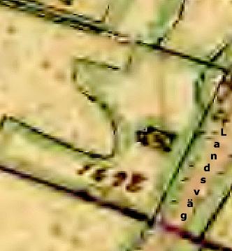 Lantmäteriet Historiska Kartor - obehandlad karta förutom påskriven text; Landsväg - avser dåtidens landsväg över Billingen mellan Skara och Skövde
