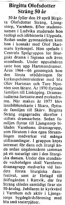 Urklipp från Gunborg Ferms samling, Ljungstorp, 2014