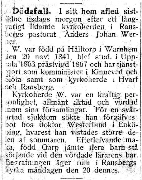 Urklipp från Lars Olof Karlsson, Timmersdala