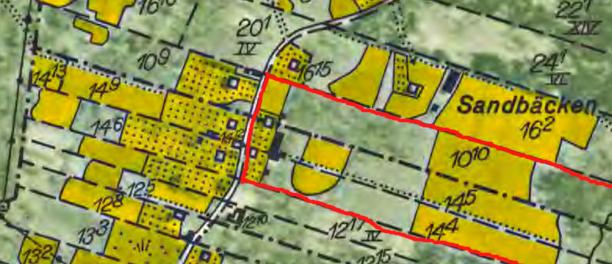 Skarpenstorps ägor runt mangårdsbyggnaderna 1960. Skarpenstorp består av Överbo Nolgården 14:4 + 14:5 + Pickagården 10:10, m fl ägor.