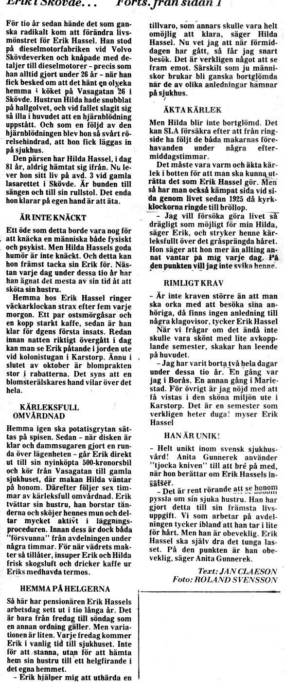 Urklipp från 20/10 1977 - ur Jaen Frimans samling, 2016