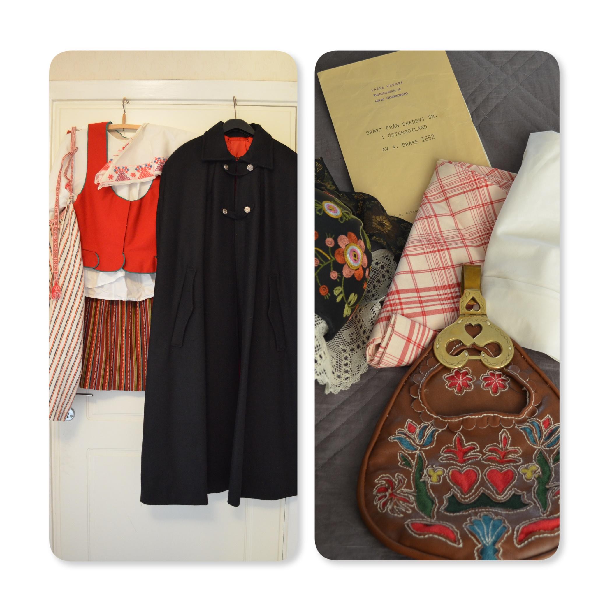 d12d29d51aa8 Stl. är möjligen runt 40-42. Blus, kjol, förkläde, väska, mössa/hätta,  sjal, sjalsmycke, två sjalhättor, cape. Finns fler bilder vid intresse.