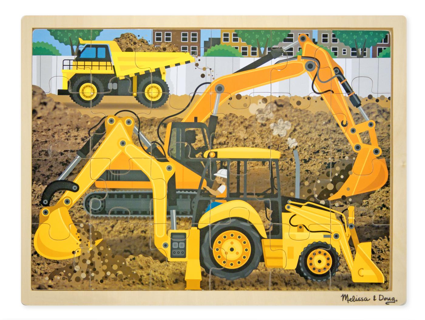 Träpussel grävmaskiner 24 bitar