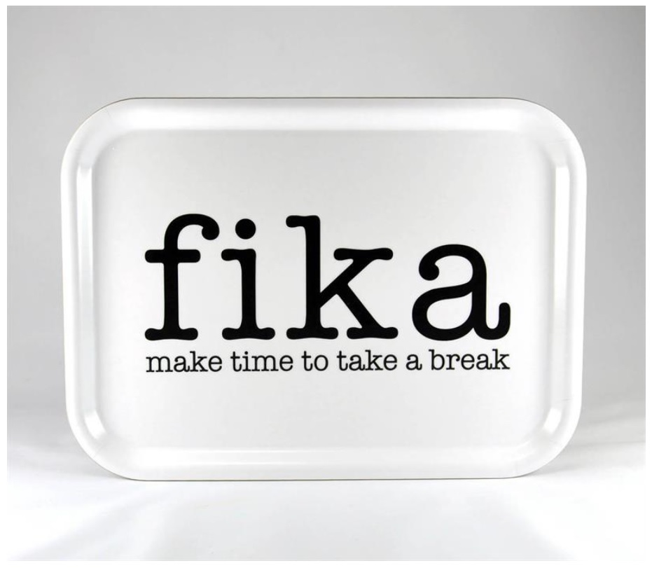 Bricka Fika - make time for a break vit_svart text_02
