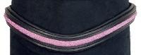 Pannband -Glitzer- - Svart läder och rosa stl: cob