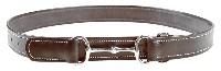 Läderskärp med dekorsöm - Bälte brunt stl: 75-85 cm