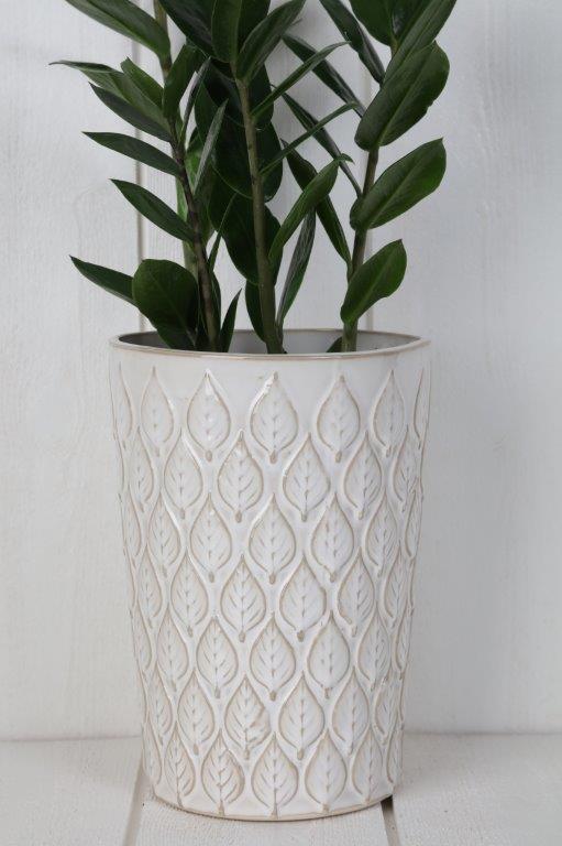vas-glaserad vas med bladmönster-vit vas