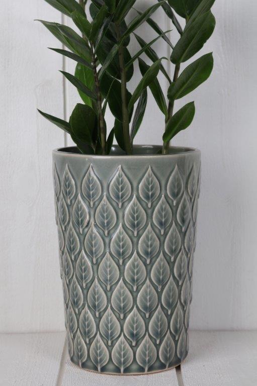 vas-glaserad vas med bladmönster-grön vas