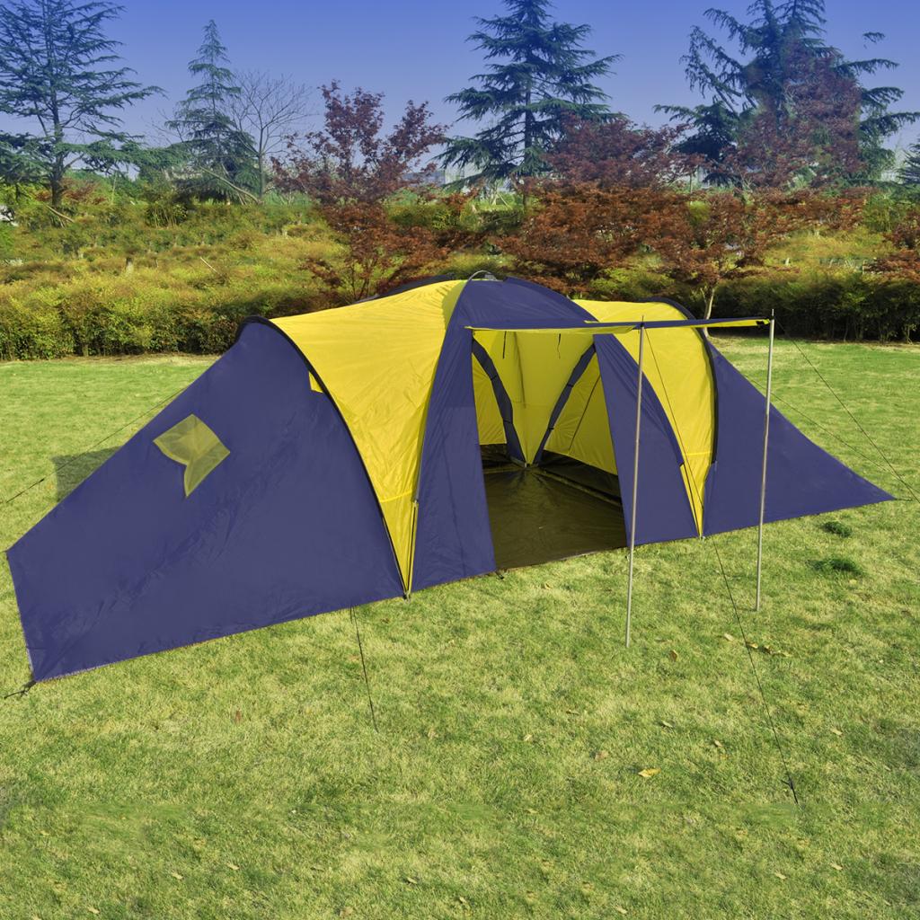 VCampingtält för 9 personer blå, gult polyester