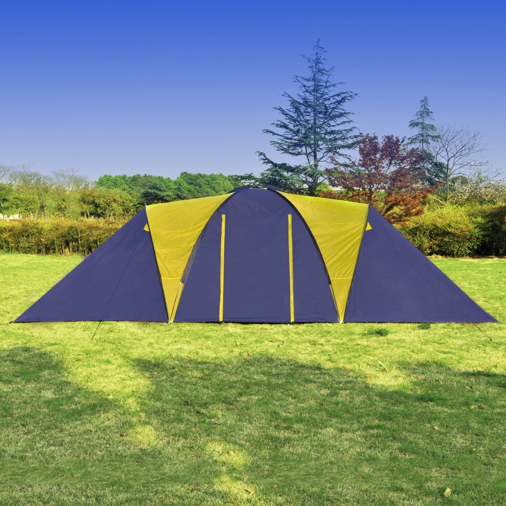 Campingtält för 9 personer blå, gult polyester