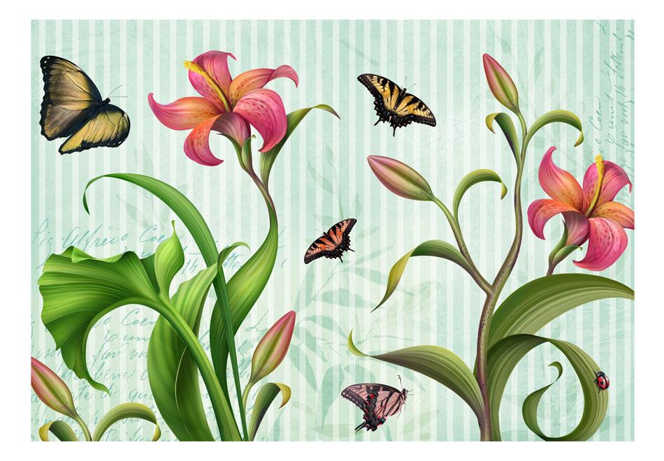 Fototapet - Vintage - butterflies1