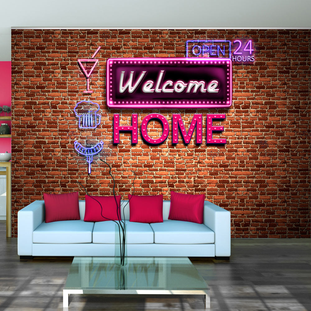 Fototapet - Welcome home - pink neon1