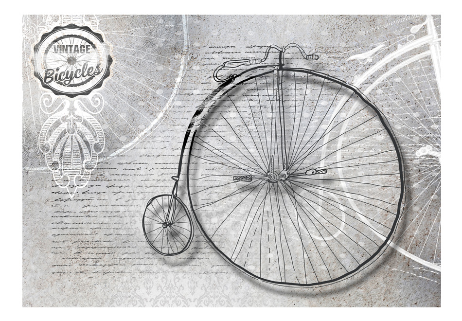 Fototapet - Vintage bicycles - black and white1