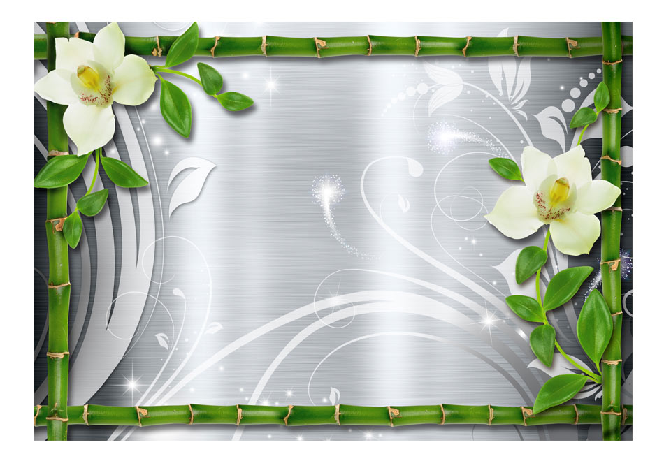 Fototapet - Bamboo and two orchids1