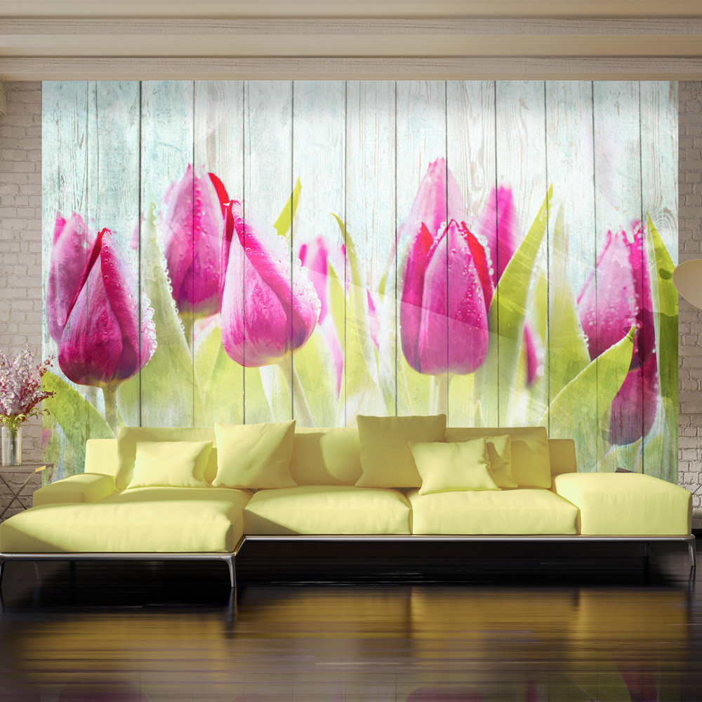 Fototapet - Tulips on white wood