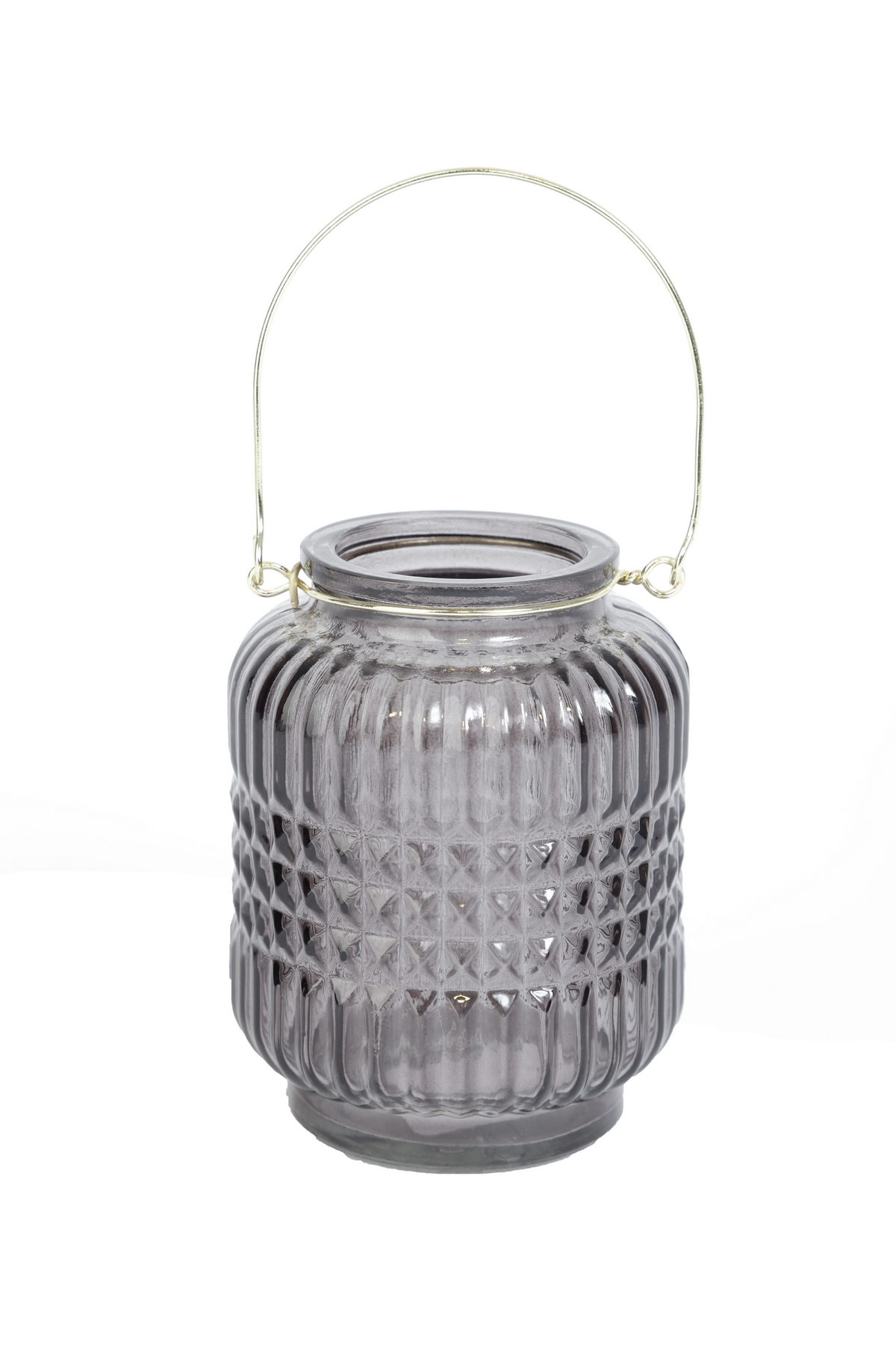 grå hängande ljuslykta i glas