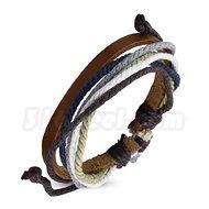 Armband blå justerbart, brunt läder