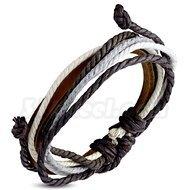 Armband grå justerbart, brunt läder