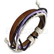 Armband lila, justerbart, brunt läder