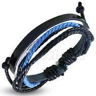 Armband blå/svart, justerbart, svart läder
