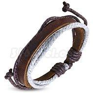 Armband grå/brun, brunt läder, justerbart