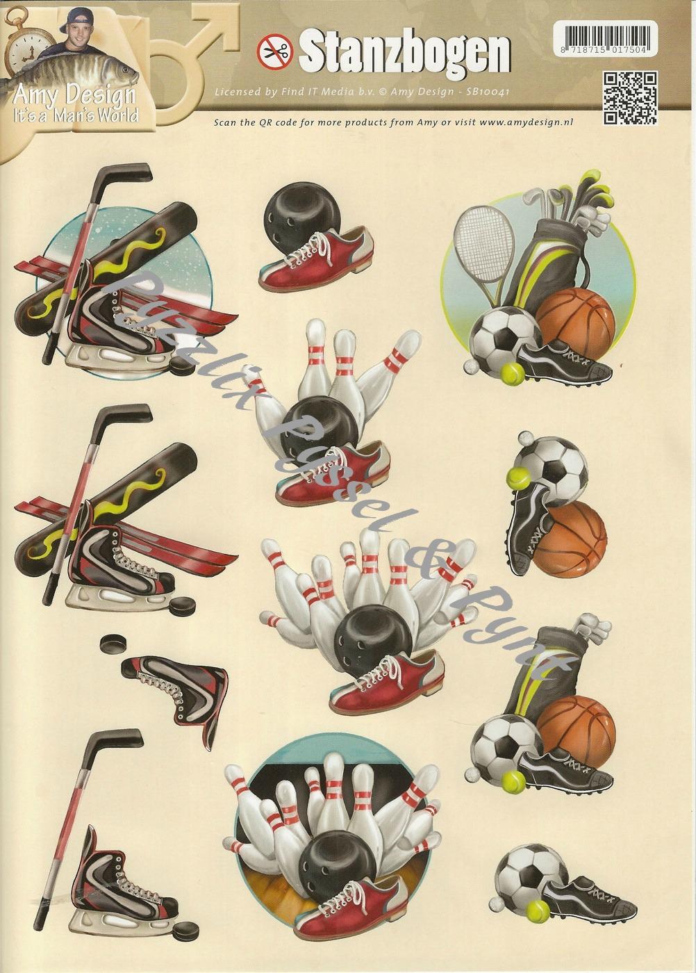 Amy design 3D Utstansat - Sportmotiv