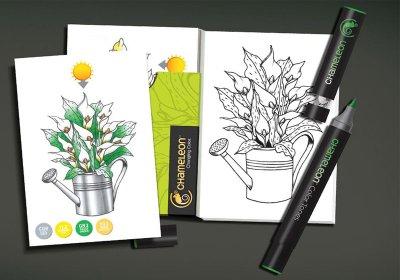 color-card-flowers-chameleon-pen