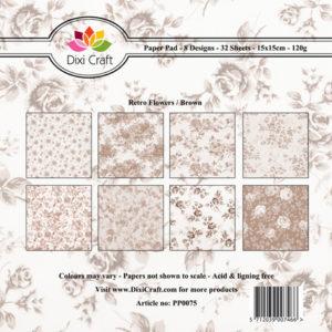 Dixi Craft Pappersblock - Retro Flowers/Brown - Dixi Craft Pappersblock - Retro Flowers/Brown