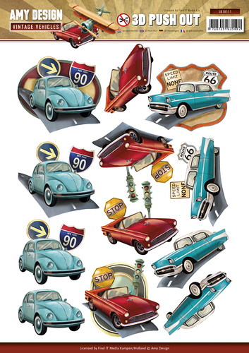 Amy design 3D Utstansat  - Vintage Vehicles - Bilar