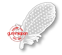 Gummiapan Dies + Stämpel - Stor prickig Fjäder - Gummiapan Dies + Stämpel - Stor prickig Fjäder