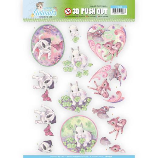 Jeaninés Art 3D Utstansat - Young Animals - Cuties in Purple SB10338