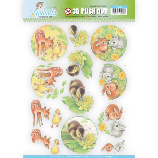 Jeaninés Art 3D Utstansat - Young Animals - Duck and Rabbits SB10335