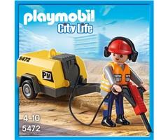 Playmobil 5472, Anläggningsarbetare med Tryckluftsborr - Playmobil 5472, Anläggningsarbetare med Tryckluftsborr
