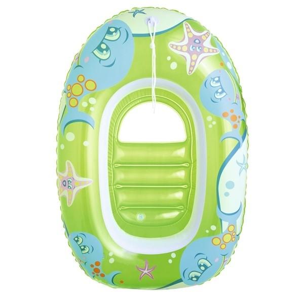 En liten gummiflotte till ditt barn. Mjuk att sitta i och lätt att dra med sig i vattnet. Båten har en rolig tittlucka i genomskinlig plast.