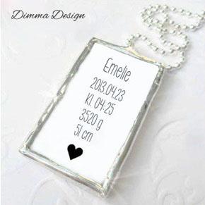 Lött smycke namn, födelsedata & hjärta - Lött smycke namn, födelsedata & hjärta