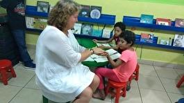 The story teller corner. Här får de cabcersjuka barnen läsa sagor.