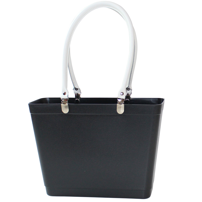 Black with white handles