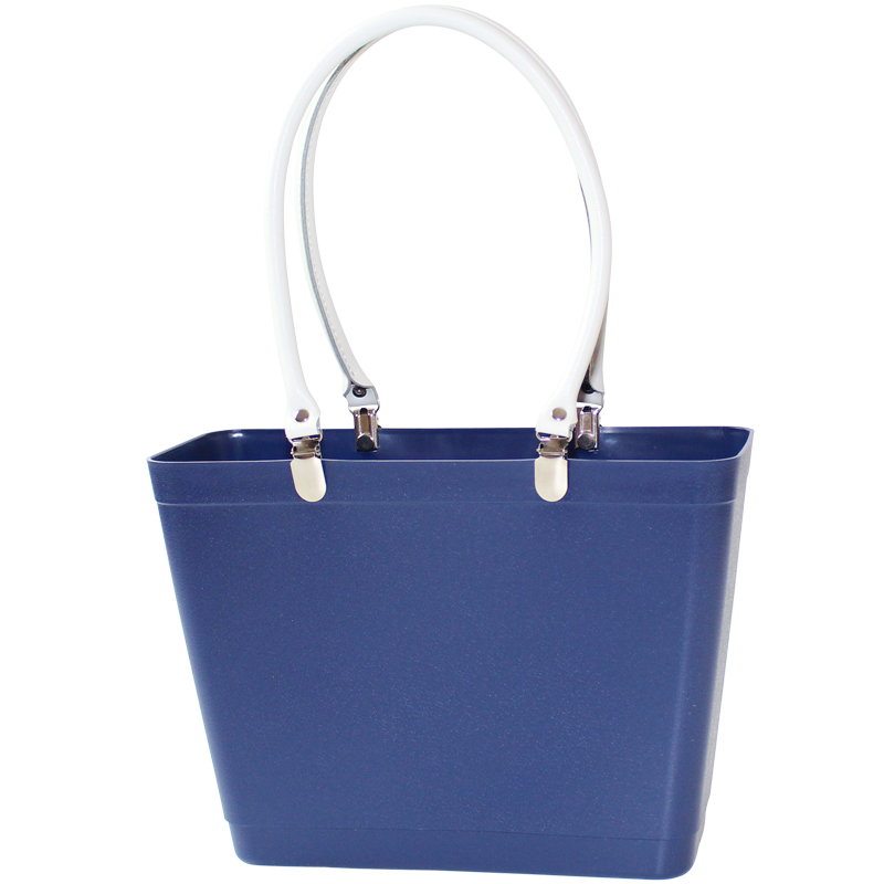 Blue with white handles