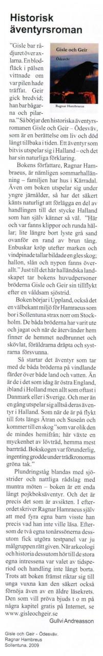 """Gullvi Andreasson, i tidskriften """"I Halland"""" nr 1 2010 som ges ut av Hallands bildningsförbund"""