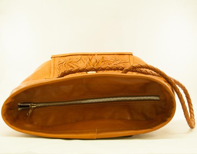 väska renskinn brun dragkedja