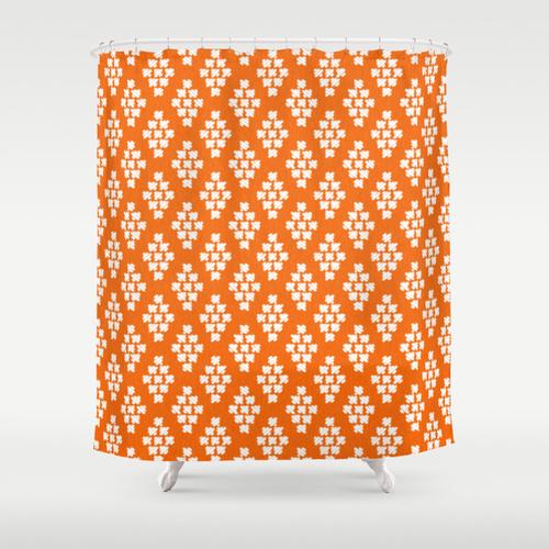 Duschdraperi /Stiched i orange