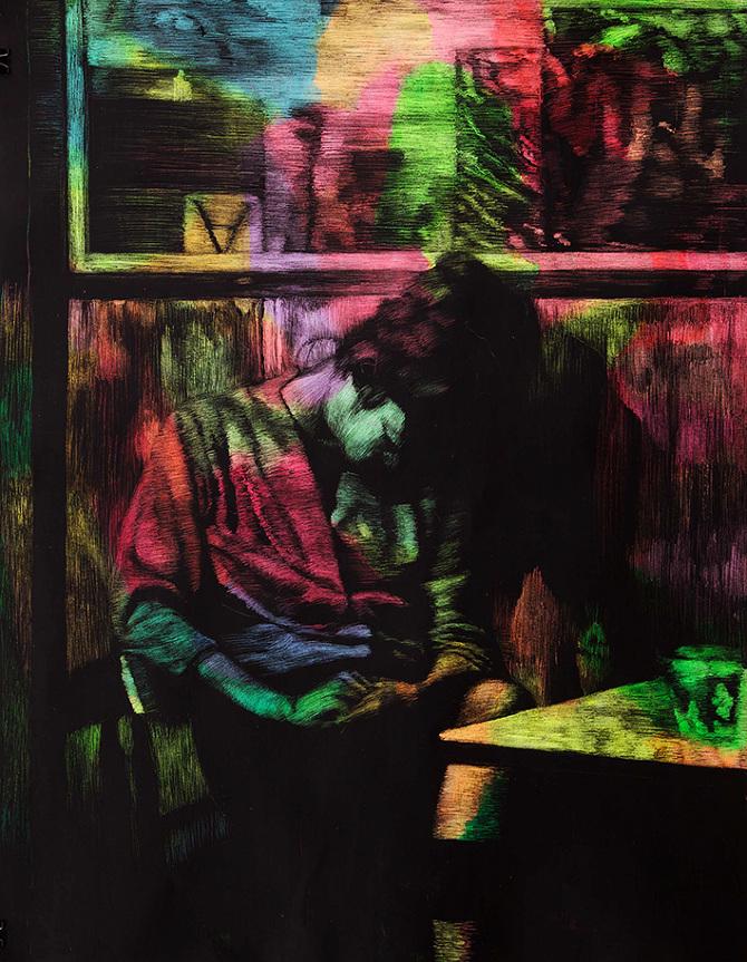 Katharina Ziemke/ Untitled (Early Morning Asleep), 2013, wax and acrylic paint on paper, 62,5 x 50